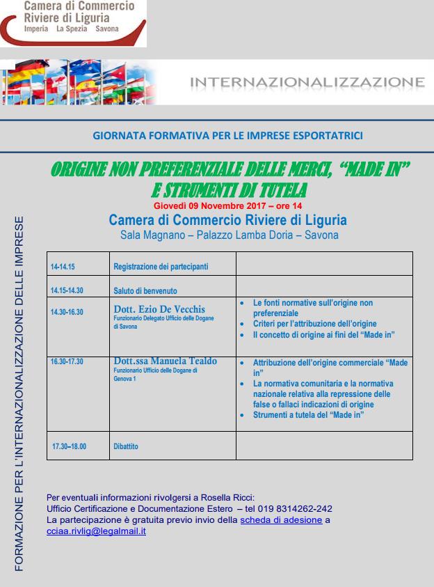 seminario estero 9 novembre 2017 savona cciaarivlig