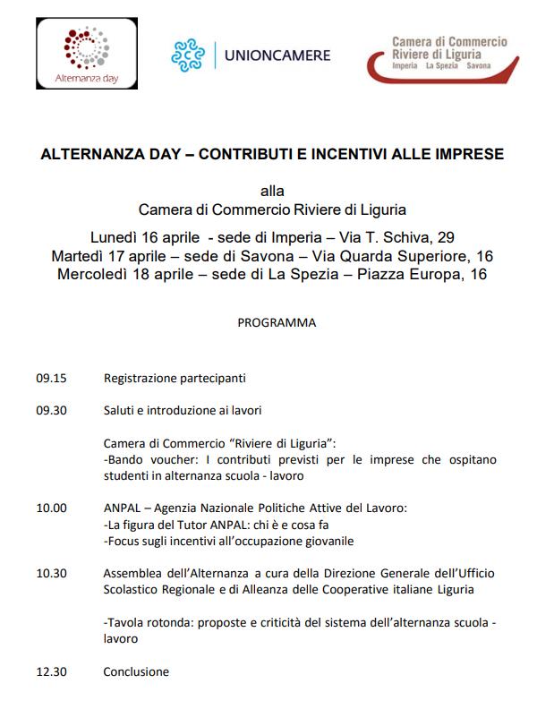 alternanza day programma 3 sedi 2018
