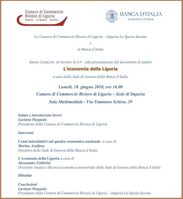 seminario BANCA ITALIA IMPERIA ECONOMIA LIGURIA