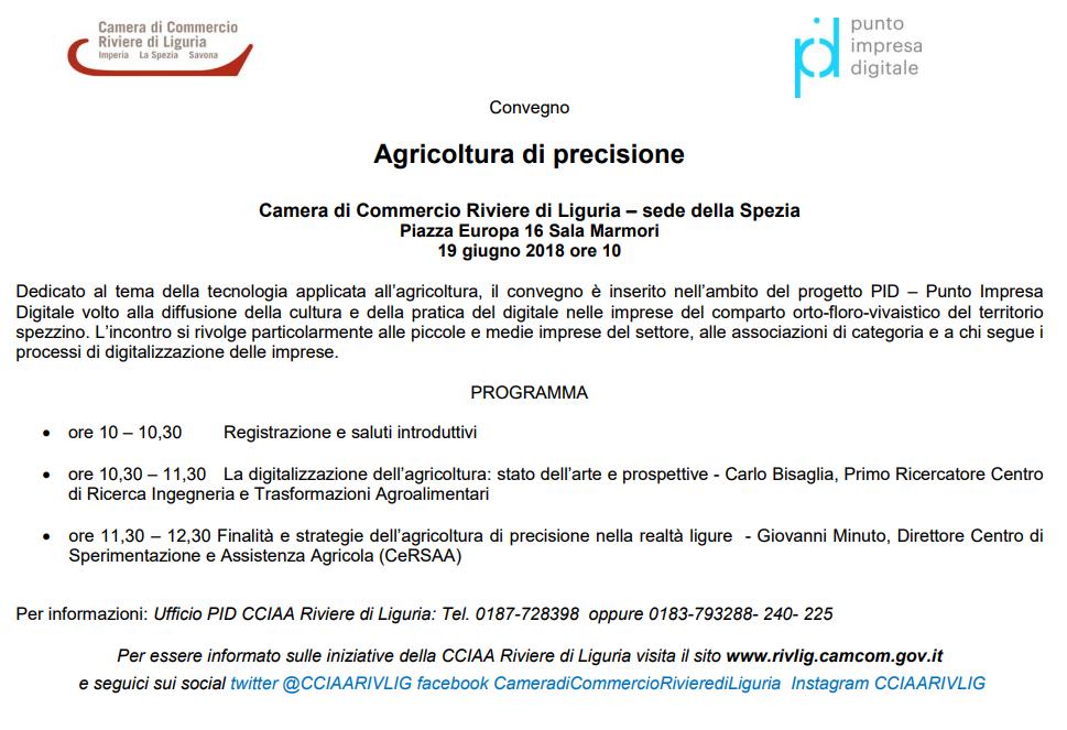 convegno pid agricoltura precisione 19 giugno 2018 la spezia